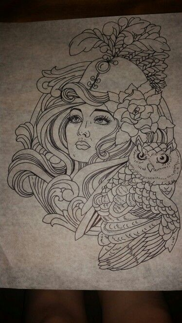 Athena and owl tattoo design