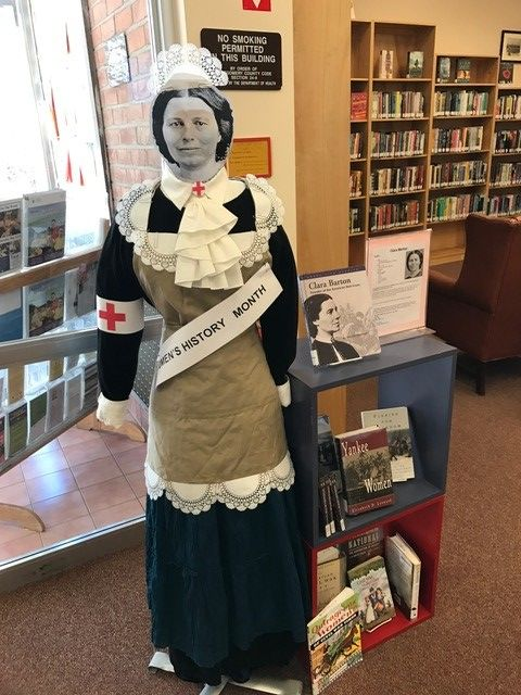 #WomensHistoryMonth display at the Chevy Chase branch depicts Clara Barton. Her house is not far from the branch.