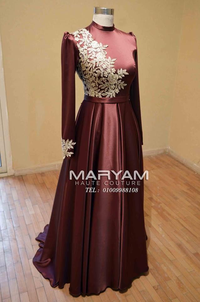 فساتين سواريه محجبات باللون النبيتى Soiree Dress Muslim Fashion Dress Fashion Dresses