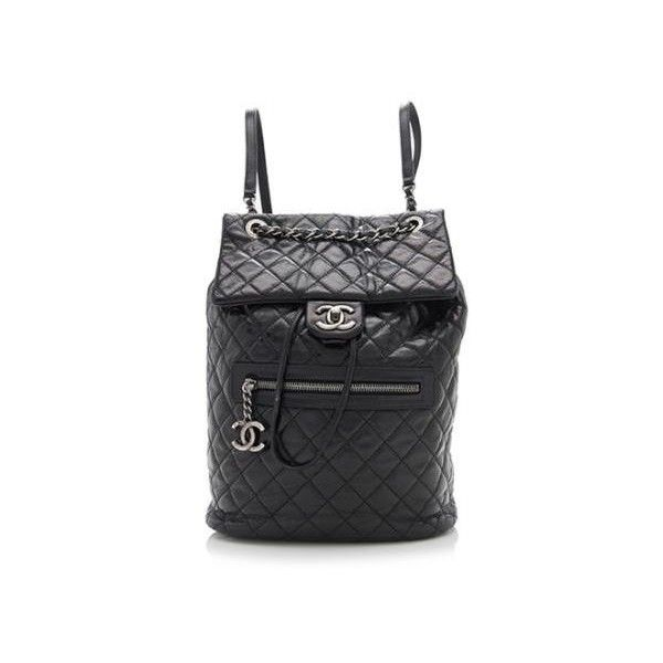 Pre-Owned Chanel Glazed Leather Mountain Backpack (18.020 DKK) ❤ liked on Polyvore featuring bags, backpacks, black, chanel backpack, preowned bags, knapsack bag, daypack bag and chanel bags