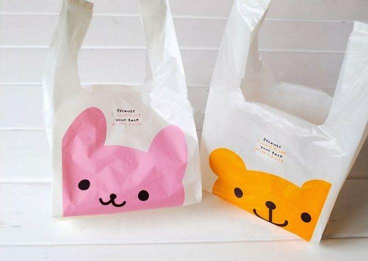 Renueva tus aburridas y feas bolsas de plástico del super por unas divertidas bolsas de plástico kawaii