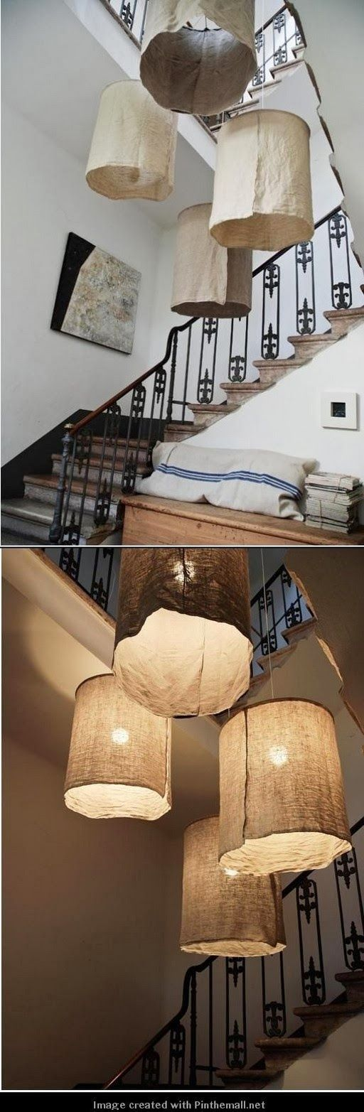 DIY: Rustic Linen Lampshades...thinking I might put this over the lamp on the ceiling fan.   Make it so that I can remove and wash