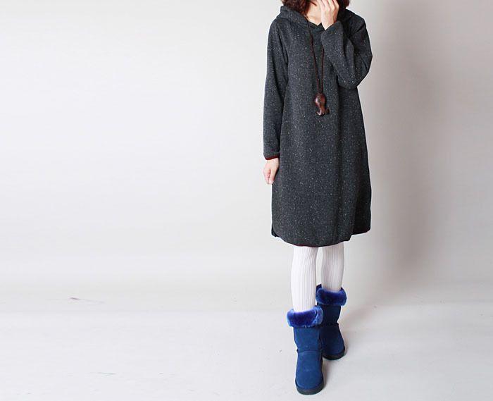 Robes, Gris foncé Coton talonnage à capuche Robe est une création orginale de camilleyuxi sur DaWanda