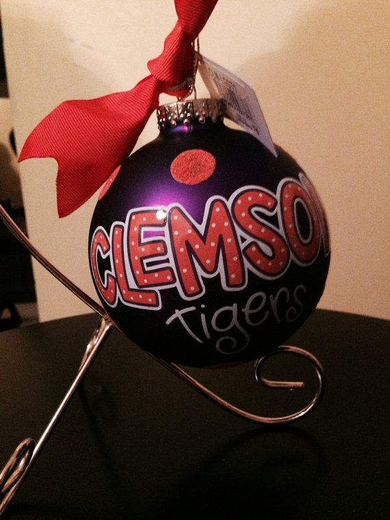 Get your Clemson Tigers ornament and personalize it. Show your Tiger spirit this Christmas with this 4 inch glass ornament.