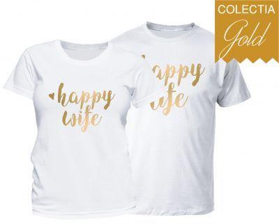 Set tricouri cuplu Happy Life - Gold