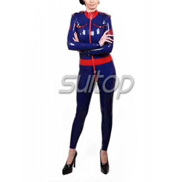 Rubber Catsuit Military Style Uniform latex teddies SUITOP #Affiliate