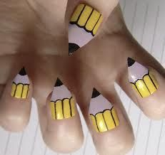 Pencil nails! All you have to do is cut your nails in a pointed formation and use decorating nail polish tips to do the rest. Top with clear coat to assure long last.