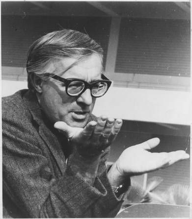 Well-known science fiction author Ray Bradbury had a long relationship with California State University, Northridge, that included reading his work and broadside printing as a part of the University's 20th Anniversary celebrations. University Archives Photograph Collection.