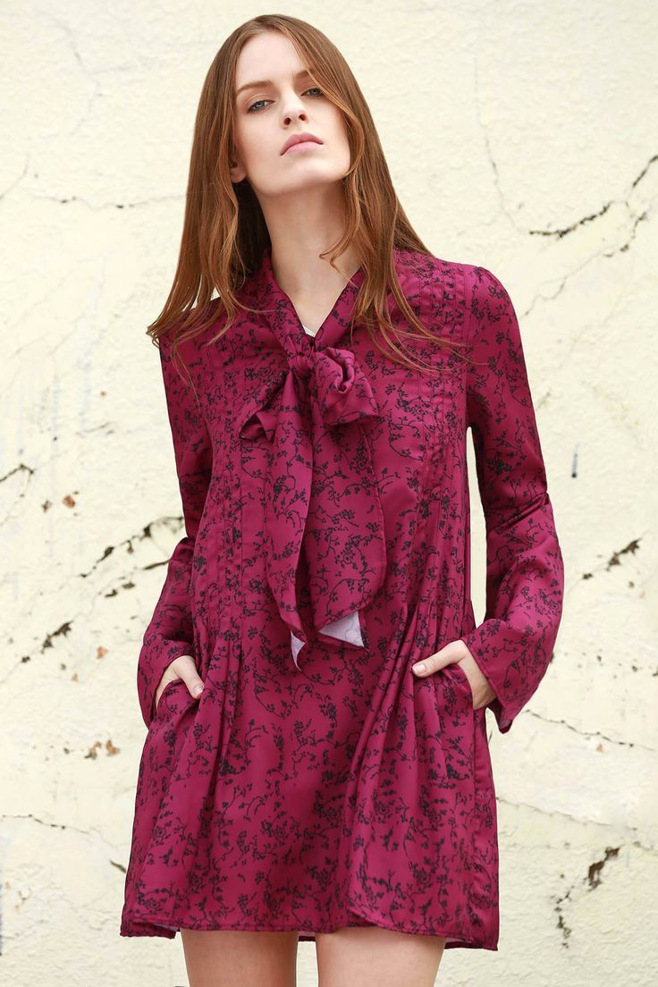 Long Sleeves Tiny Floral Print Dress $23.99