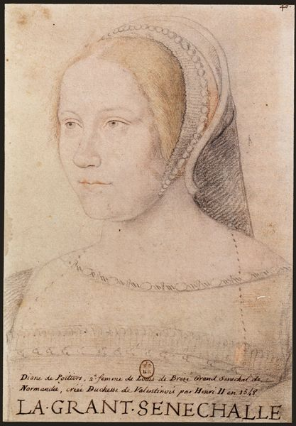 "1525 Diane de Poitiers by ? (location unknown)                   This color drawing of Diane de Poitiers was done with Clouet-like talent. In a posting of 16 August 2009 on The World's Oldest Obsession blog, Diane was termed a ""16th Century Cougar."" She was 20 years older than Henri. Henri II met her when she ran the royal nursery when Henri was just eight years old."