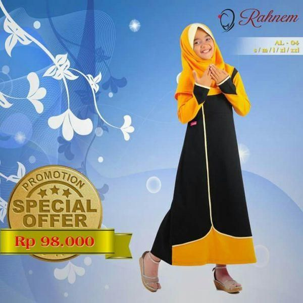 Jual beli Baju Gamis Anak Rahnem Anak Limited AL- 04 di Lapak Aprilia Wati - agenbajumuslim. Menjual Dress - Rahnem Anak Limited AL- 04 Kode : AL- 04 Warna : Hitam  Kuning  Rahnem Anak Limited AL- 04 Harga : Rp. 98.000  Size : S, M, L, XL, XXL, XXXL TANPA JILBAB  Rahnem adalah busana muslim yang mempunyai karakter berbeda dengan produk sejenis lainnya, seperti:  Mengutamakan kualitas dan konsistensi dari segi bahan baku dan jahitan. Inovasi dengan mode dan style yang dinamis, senantiasa…