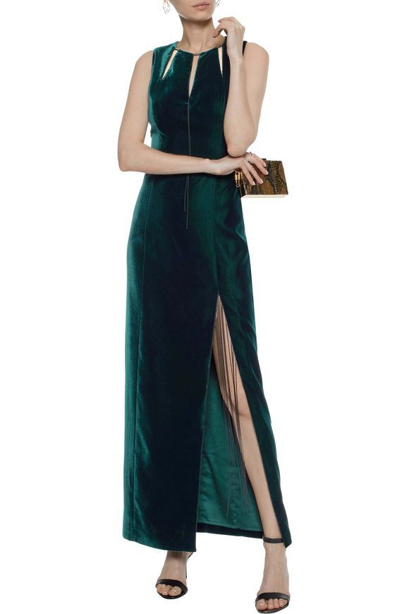 b9db9f4b2ca01 ELIE TAHARI Jemra chain-embellished cutout velvet maxi dress ...