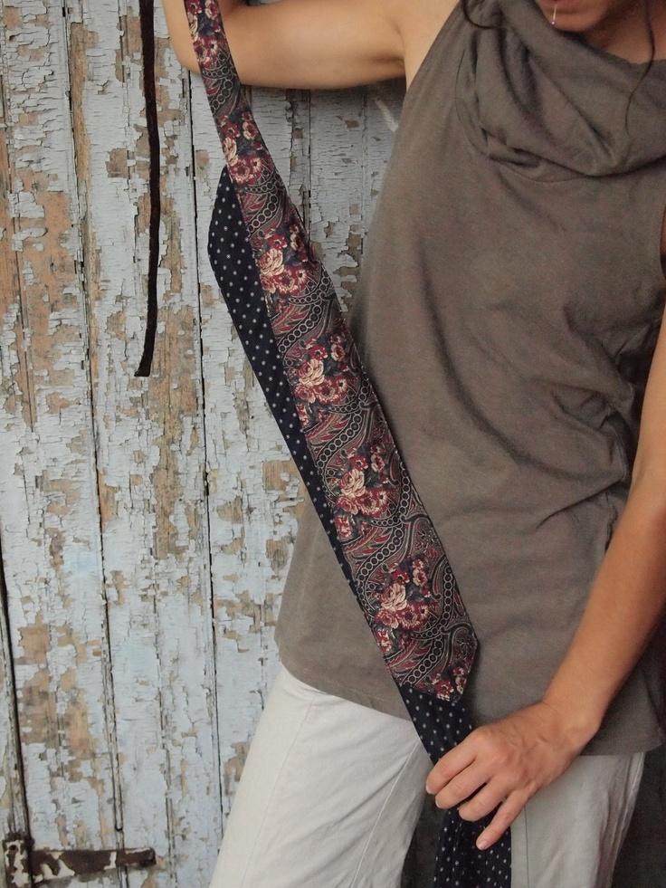 Mauve Stripes- Upcycled Silk Tie Belt Obi. $25.00, via Etsy.