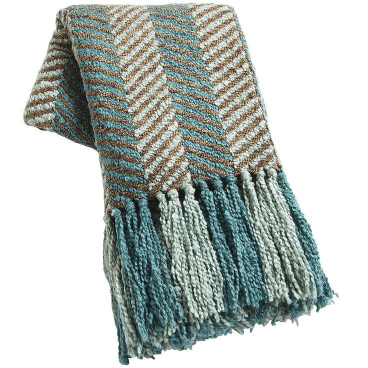 Turquoise Teal Knit Chevron Throw Acrylic Acrylics