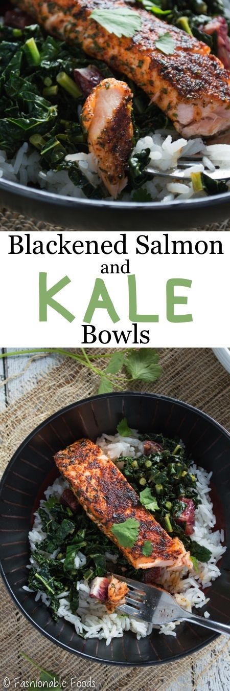 Salmon filets are dredged in a flavorful spice mixture, cooked to perfection and served over sautéed kale and blood oranges. These blackened salmon and kale bowls are the perfect healthy dinner – serve over quinoa, rice, or cauliflower rice for Paleo & Whole30!