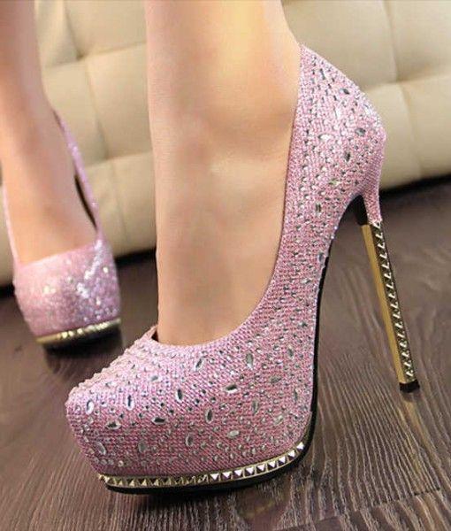 pantofi toc metal roz (1)