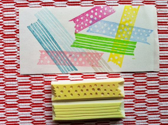 DECO hand carved rubber stamp masking tape style by talktothesun, $15.00