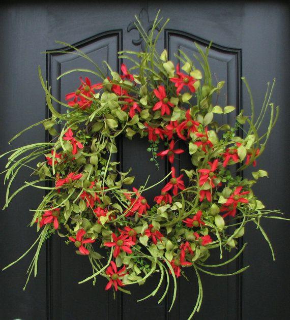 Spring Wreath  Front Door Wreath  Red Daisies  by twoinspireyou, $115.00