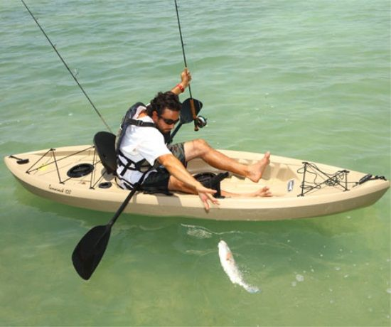 Lifetime tamarack 90508 muskie angler 10 foot sit on top for Sit on vs sit in kayak for fishing