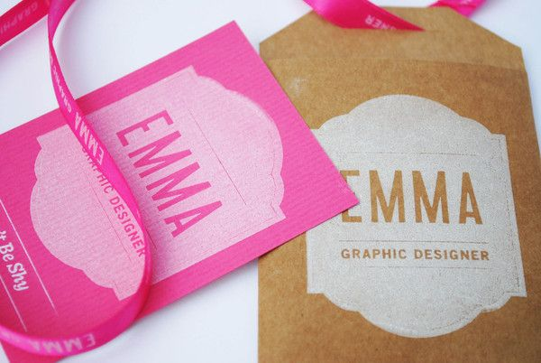 lanyard style business card with custom printed ribbon   Self Promotional Mailer by Emma Hopkins, via Behance