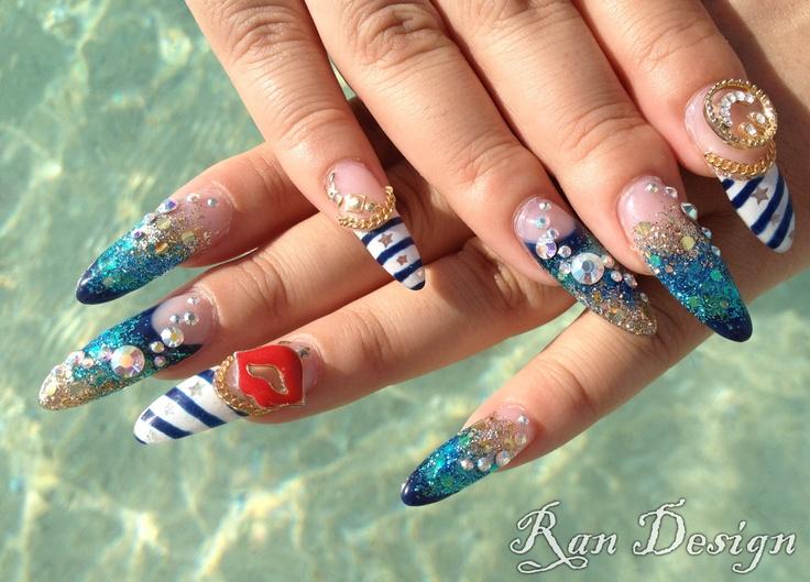 Mermaid nails u as pinterest for Gimnasio 6 y 45