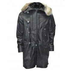 Bolongaro Trevor Quadrophenia Parka made from high quality leather with a fur trim hood.