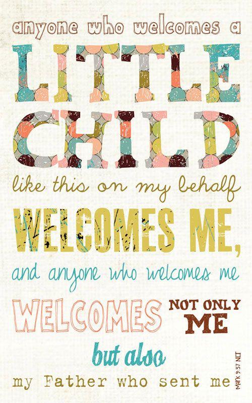 Baby Gift, Baby Shower present, Adoption gift, Scripture Art, Bible Verse Art, Faith Based Art, Mark 9:37, 5x8 art print on wood. $16.00, via Etsy.
