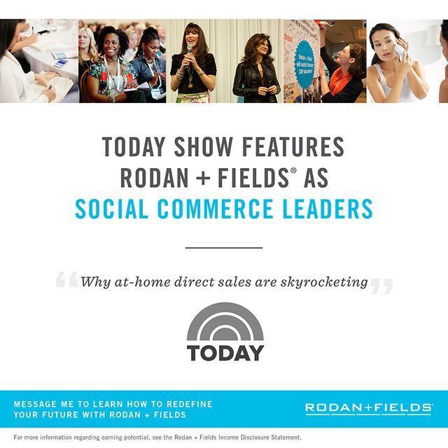 "Mark Zukerburg (worth 35.7 billion) -predicted itToday Show called Rodan and Fields ""The Leaders of it"" Rodan and Fields is the 4th leading premium skincare company 6 years in a rowThis company is leading in social commerce! You should not hesitate to join and sit back and watch this company boom I have seen first hand what this company can do for its consultants and the freedom it creates.Don't be afraid, it's not a risk and it will pay off"