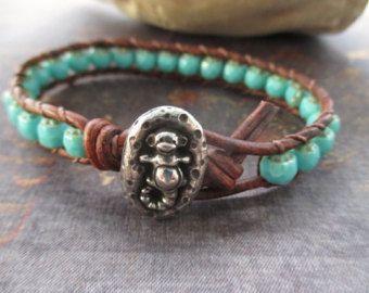 Blu turchese in pelle - Sea Monkey - carino accatastamento del braccialetto afflitto in pelle marrone primavera estate spiaggia boho da slashKnots