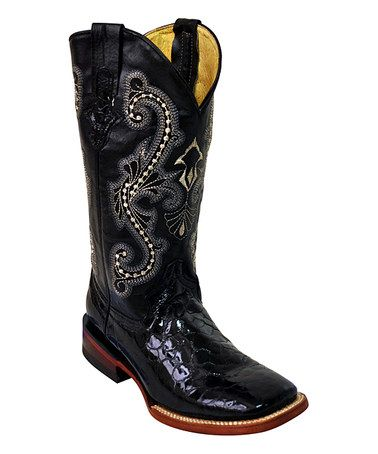Another great find on #zulily! Black Gator Square-Toe Leather Cowboy Boot by Ferrini #zulilyfinds