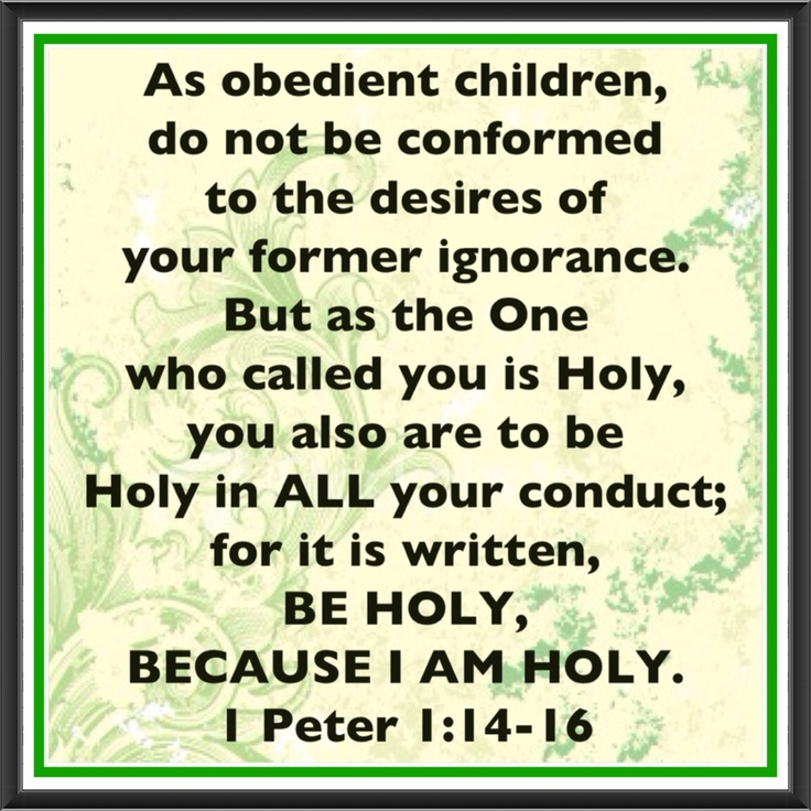 As obedient children, not fashioning yourselves according to the former lusts in your ignorance: But as he which hath called you is Holy, so be ye Holy in all manner of conversation; Because it is written, Be ye holy; for I am Holy.  1 Peter 1:14-16
