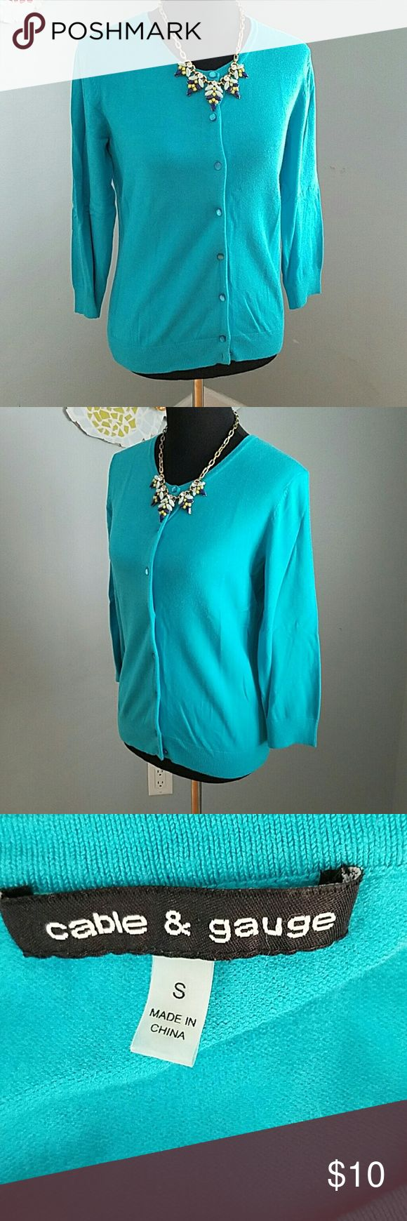 Cable & Gauge Turquoise Cardigan Gorgeous color! 3/4 length sleeves, plenty of stretch. 70% rayon, 30% nylon. In great used condition. Cable & Gauge Sweaters Cardigans