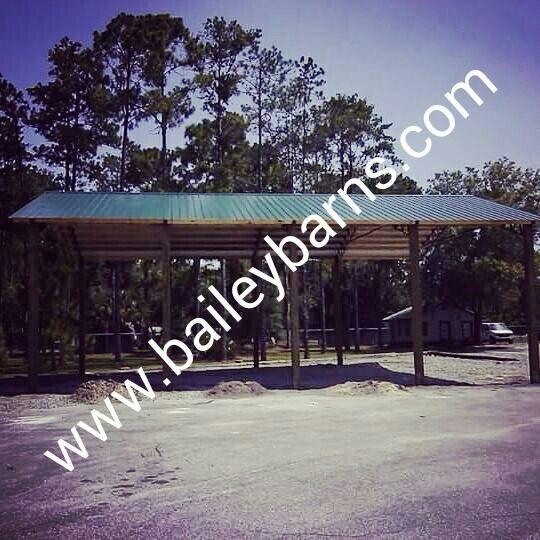 48' Long Pole Barn built in the Southeast   Steel trusses ...