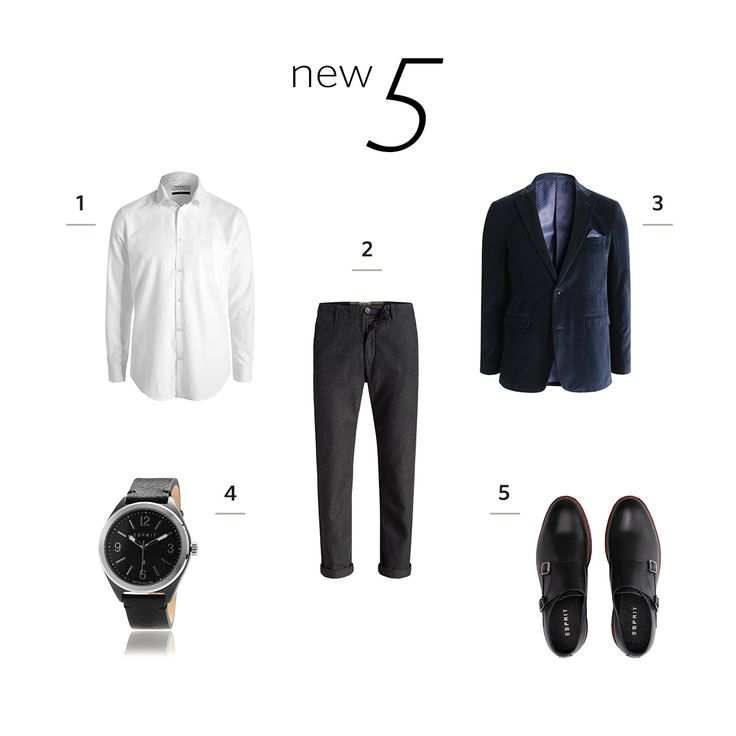 The New 5! Gift Ideas for Gentlemen. Fine timepiece, cool chinos, midnight blue velvet blazer, leather shoes or a classic white button down - it's your choice, ladies!