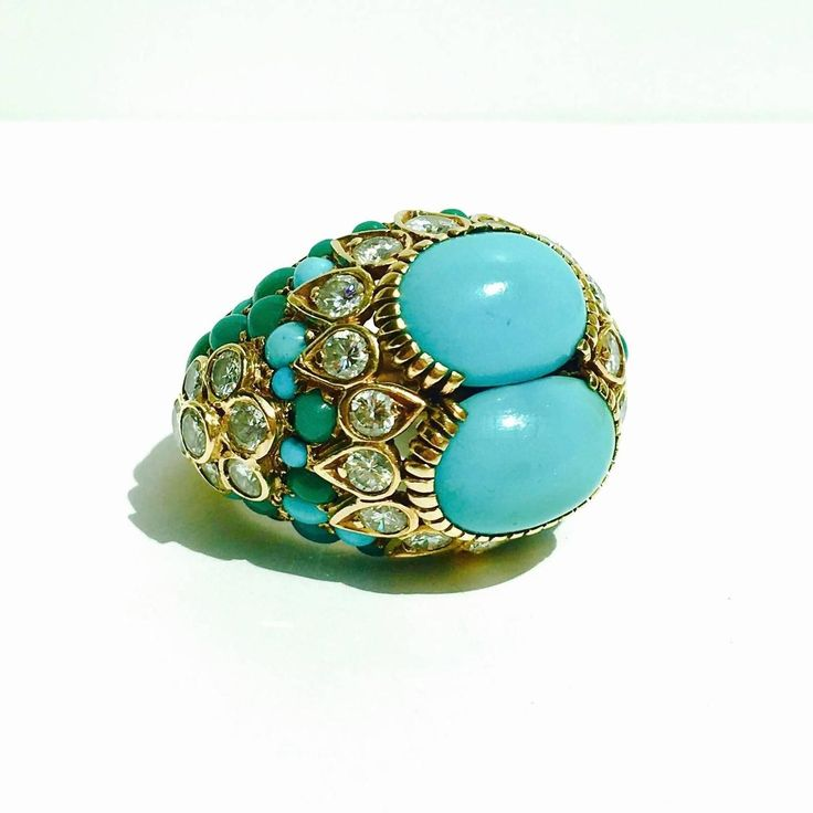 1960s Cartier Turquoise Diamond Gold Ring 2