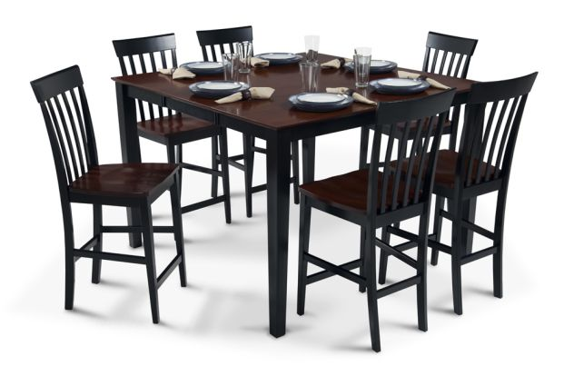 """Bob s Furniture Pub Table with 18"""" Leaf & 6 Counter"""