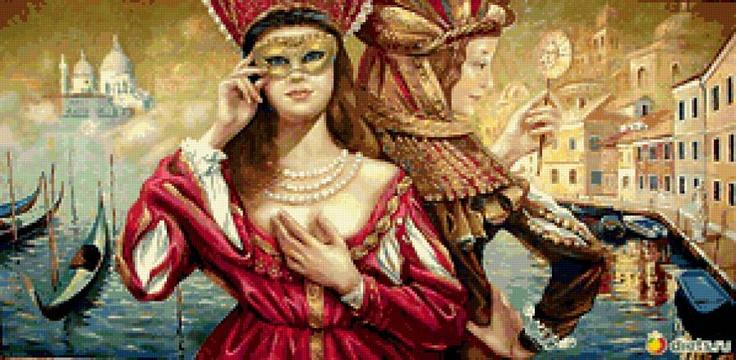 Схема вышивки «Венецианский маскарад» - Схемы вышивки - Мария28928 - Авторы - Портал «Вышивка крестом»