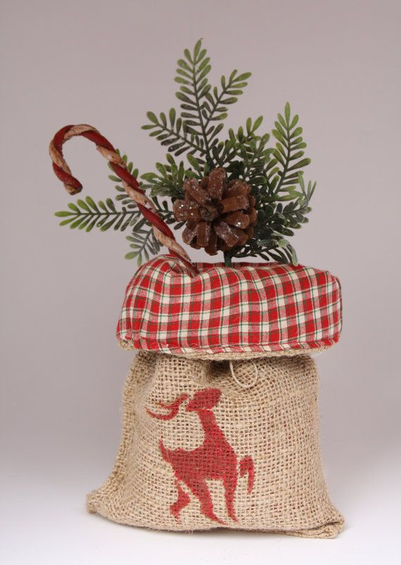 Holidays Christmas Decoration Burlap Lined Gift by ScriblzDesign, $8.50