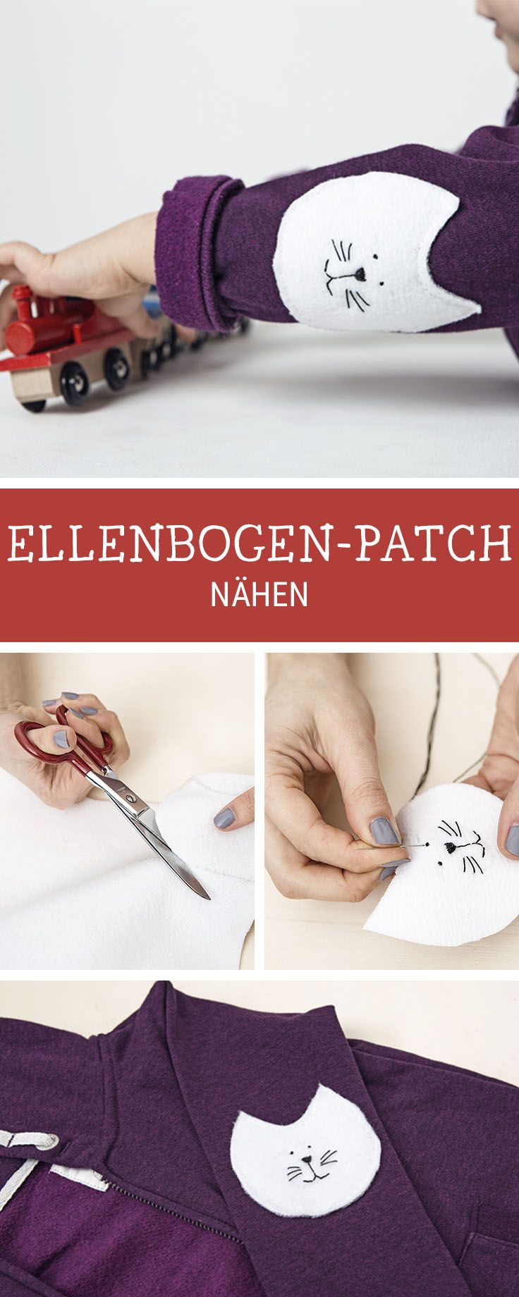 Nähanleitung für Flicken in Katzenform, Nähidee / diy sewing inspiration for cute elbow patches in shape of cats via DaWanda.com