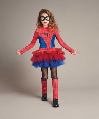 ultimate spider-girl girls costume - exclusively ours - Only the daughter of Peter Parker and Mary Jane Watson could look this incredible. Your signature black spider is embellished on a red and blue tutu dress, which has printed webbing and layers of sparkly tulle. Super stretchiness helps your crime-fighting ability. The sparkly mask and matching leg warmers complete your disguise.