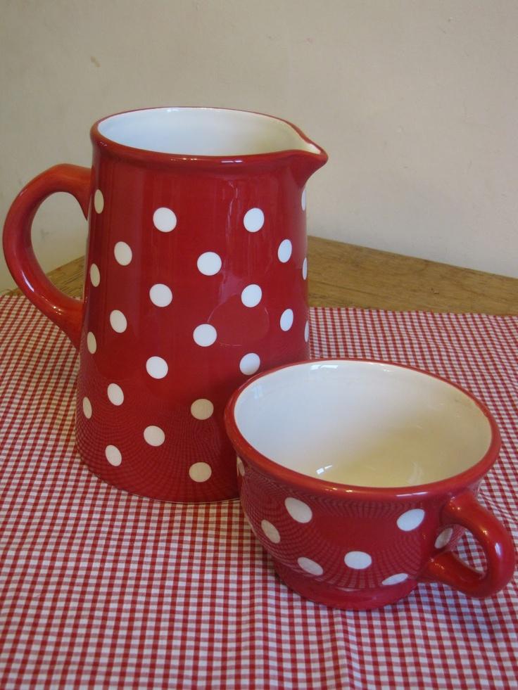 Red polka dot pitcher and mug