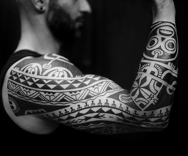 Hawaiian Tribal Sleeve Tattoo Design