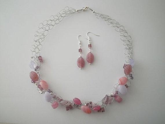 """Czech Glass """"Pinks"""" Necklace & Earrings by JoTheGreek on www.Etsy.com"""