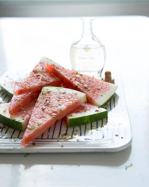 Tequila Soaked Watermelon with Chili & Lime