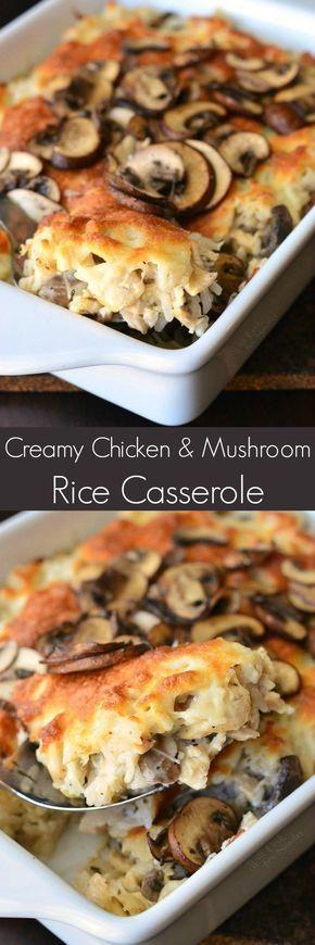 Creamy Chicken Mushroom Rice Casserole. Delicious, creamy, cheesy rice casserole made with lots of mushrooms and chicken. (garlic mushrooms with cheese)