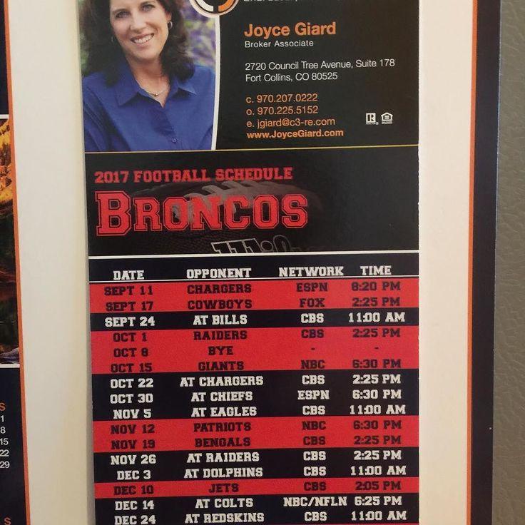 2017 Denver Broncos NFL schedule. Message me if you would like a Calendar for your fridge I have plenty left.