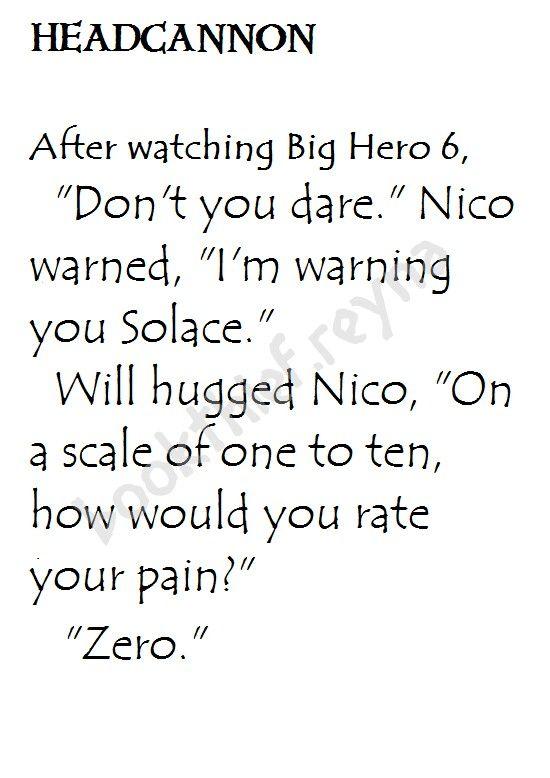 Heroes of Olympus Headcannon. #Solangelo after watching Big Hero 6