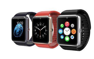 Часы-телефон Smart Watch   Характеристики: Связь: GSM 850/900/1800/1900МГц Языки: русский, английский Экран: сенсорный TFT-дисплей 240х240 Память: 128+64MB Поддержка карт памяти: есть Динамик/громкая связь: есть Камера: есть (фото 640х480 и видео 320х240): Количество симкарт: 1 Совместимость: Android 4.4 + IOS 7.0 и выше Цвет: черный, красный Материал ремешка: cиликон Корпус часов (материал): сталь Емкость аккумулятора: 350 mAh Bluetooth: 3.0 / 4.0