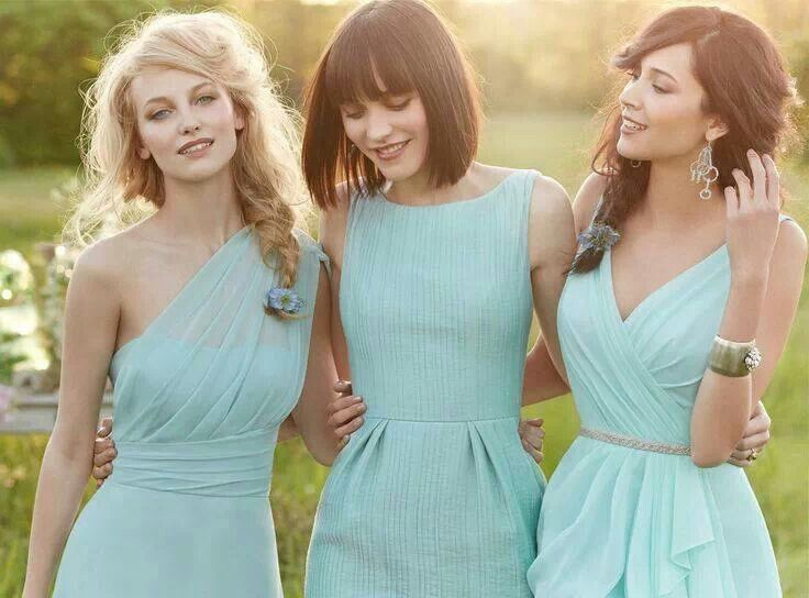 Blue bridesmaid dresses. Women should be able to pick out their own style of dress. I like the mix of styles. Color is pretty but will not work for me.