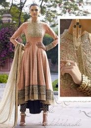 Bridal Wear Jute Silk Peach Antique Work Straight Suit